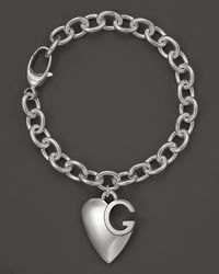 Gucci Metallic Sterling Silver Lucky Charms Bracelet with Heart Charm