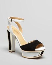 Guess White Peep Toe Platform Sandals Barta High Heel