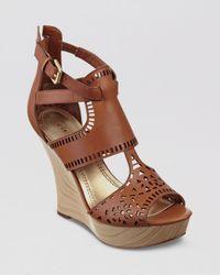 Guess Brown Platform Wedge Sandals Agenta