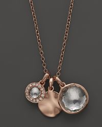 Ippolita Metallic Ippolita Rosé Lollipop Charm Necklace in Clear Quartz with Diamonds 16