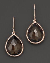 Ippolita Metallic Rosé Rock Candy® Teardrop Earrings In Smoky Quartz
