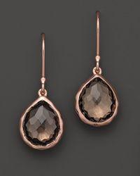 Ippolita Metallic Ippolita Rosé Teeny Teardrop Earrings in Smokey Quartz