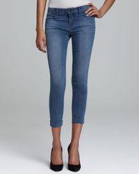 J Brand Blue Jeans Anja Cuffed Crop Skinny in Stockholm