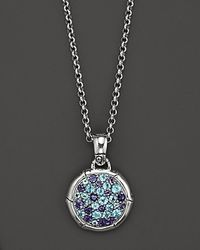 John Hardy | Metallic Bamboo Silver Lagoon Colorway Small Round Pendant With Swiss Blue Topaz And Iolite On Chain Necklace, 18"