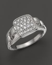 John Hardy - Metallic Classic Chain Silver Rectangular Ring With Diamond Pave, 0.32 Ct. T.W. - Lyst