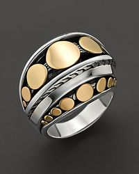 John Hardy - Metallic Dot Deco Gold and Silver Dome Ring - Lyst