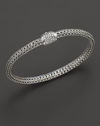John Hardy - Metallic Extra Small Classic Chain Bracelet With Diamond Pavé Clasp - Lyst