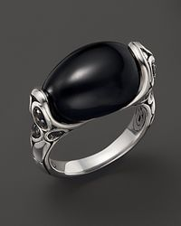 John Hardy Kali Silver Batu and Lava Small Oval Ring with Black Chalcedony and Black Sapphire