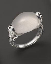 John Hardy Metallic Kali Silver Batu and Lava Small Oval Ring with Milky Quartz and Rainbow Moonstone