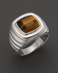 John Hardy - Metallic Mens Bedeg Silver Batu Cushion Ring with Tigers Eye for Men - Lyst