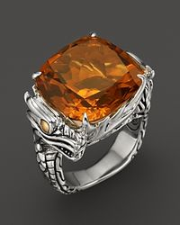 John Hardy - Metallic Naga 18k Gold and Sterling Silver Batu Square Citrine Ring - Lyst