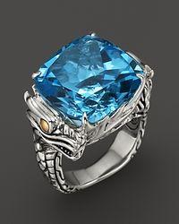 John Hardy Metallic Naga 18K Gold And Sterling Silver Batu Square Sky Blue Topaz Ring