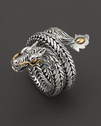 John Hardy Metallic Naga 18k Gold And Silver Dragon Coil Ring