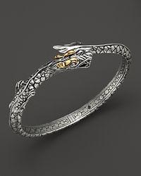 John Hardy - Metallic Sterling Silver & 18k Gold Naga Dragon Slim Kick Cuff - Lyst