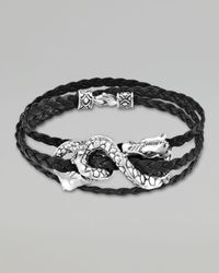 John Hardy | Metallic Naga Black Leather Triple Wrap Dragon Bracelet for Men | Lyst