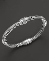 John Hardy - Metallic Bedeg Silver Diamond Pave Four Station Chain Bracelet - Lyst