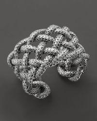 John Hardy - Metallic Classic Chain Silver Wide Braided Cuff - Lyst