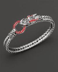 John Hardy - Metallic Naga Lava Dragon Head Bracelet With Red Sapphire - Lyst
