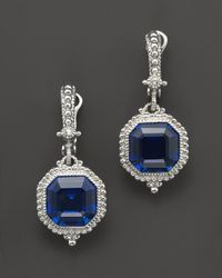 Judith Ripka Metallic Estate Ascher Cut Stone Earrings with Labcreated Blue Corundum