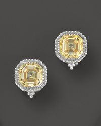 Judith Ripka | Metallic Estate Ascher Stud Earrings With Canary Crystal | Lyst