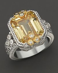 Judith Ripka Metallic Estate Emerald Cut Ring with Canary Crystal and White Sapphires