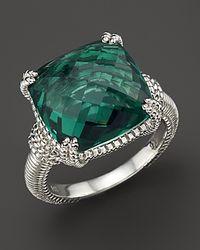 Judith Ripka Metallic Green Quartz And Sterling Silver Ring