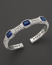Judith Ripka - Metallic Narrow Estate Cuff with Labcreated Blue Corundum - Lyst