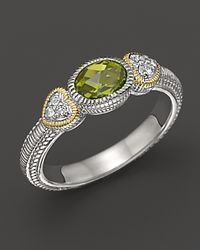 Judith Ripka Metallic Sterling Silver and 18k Gold Ambrosia Stackable Ring with White Sapphires and Peridot