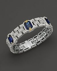 Judith Ripka - Metallic Sterling Silver and 18k Gold Estate Cuff with Labcreated Blue Corundum and White Sapphires - Lyst