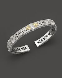 Judith Ripka - Metallic Sterling Silver and 18k Gold Estate Cuff with White Sapphires - Lyst