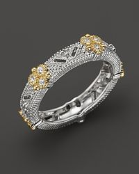 Judith Ripka Metallic Sterling Silver and 18k Gold Estate Narrow Band Ring with White Sapphires
