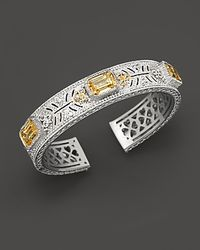 Judith Ripka - Metallic Sterling Silver and 18k Gold Large Estate Cuff  - Lyst
