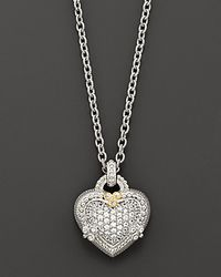 "Judith Ripka - Metallic Sterling Silver And White Sapphire Pavé Ambrosia Heart Pendant Necklace, 17"" - Lyst"