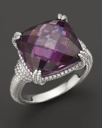 Judith Ripka | Metallic Sterling Silver Cushion Stone Ring With Purple Crystal | Lyst