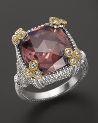 Judith Ripka - Metallic Sterling Silver Small Monaco Ring With Raspberry Crystal - Lyst