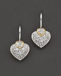 Judith Ripka - Metallic White Sapphire Pavé Heart Earrings - Lyst