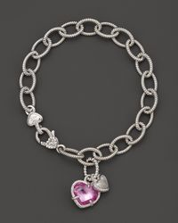 Judith Ripka - Metallic Sterling Silver Pave Heart and Stone Heart Charm Bracelet with Lab-created Pink Corundum and White Sapphires - Lyst