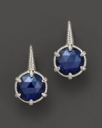 Judith Ripka | Metallic Sterling Silver Small Eclipse Earrings with Labcreated Blue Corundum | Lyst