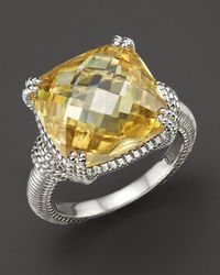 Judith Ripka Metallic Canary Crystal Sterling Silver Cushion Stone Ring