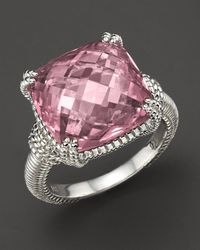Judith Ripka - Metallic Sterling Silver Cushion Stone Ring - Lyst