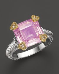 Judith Ripka Metallic Small Candy Ring With Pink Crystal And White Sapphires