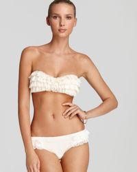 Juicy Couture White Prima Donna Ruffle Bandeau Bikini Top