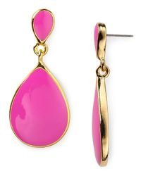 Kenneth Jay Lane | Pink Fuchsia Enamel Teardrop Earrings | Lyst