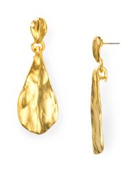 Kenneth Jay Lane - Metallic Satin Gold Hammered Teardrop Earrings - Lyst