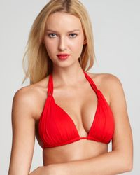 La Blanca Red Samba Slide Halter Cup Bra Bikini Top