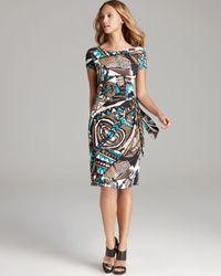 Lafayette 148 New York Multicolor Cap Sleeve Dress with Gathered Side Tie