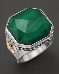 Lagos Green Sterling Silver Malachite Color Rocks Ring