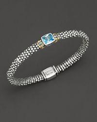 "Lagos Metallic ""glacier"" Rope Bracelet With Blue Topaz Stone"