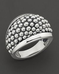 "Lagos Metallic Sterling Silver ""caviar"" Domed Ring"