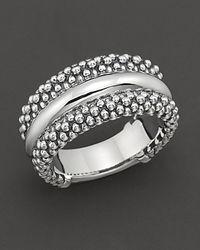 "Lagos | Metallic Sterling Silver ""Caviar"" Ring | Lyst"